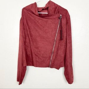 Blank NYC | Burnt Red Drape Front Suede Jacket